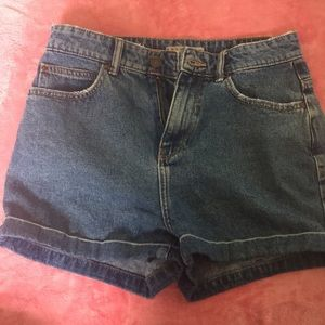 High Rise Blue Denim Shorts